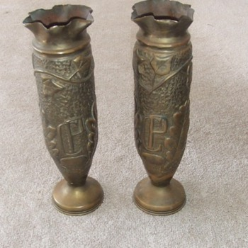 WW1 Trench Art vase pair - Military and Wartime