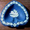"Wedgwood ""Cobalt"" Jasperware Heart Shaped Ash Tray/ Greek Goddess Design / Circa 1950-60"