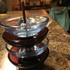 Vintage 4-Piece Stacked Ashtray Set w/Wooden Stand