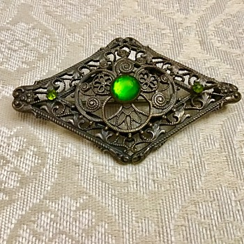 Old brooch with green stones - Costume Jewelry