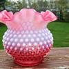 Fenton Pink and White Vase