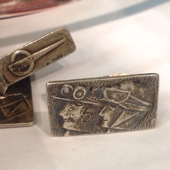 835 silver, bomber pilots image cufflinks - Accessories