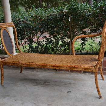 Bamboo Rattan Chaise Lounge Wrought Iron Steel Spotted Bench Couch - Help Identify Please