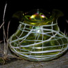 KRALIK SPIDER WEB VEINED TREFOIL VASE SUBTLE IRIDESCENT IN LIME GREEN