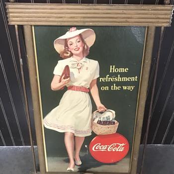 1940's CocaCola wood frame advertising  - Coca-Cola