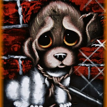 Vintage VELVET PAINTING -- Big Eyed SAD Puppy  - Fine Art