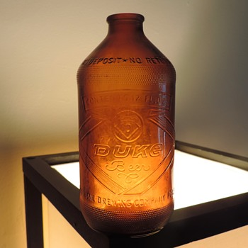 1965 Duquesne Brewing Duke Beer Bottle Pittsburgh Glenshaw Glass Stubby 12 Ounces Embossed Amber Brown - Bottles