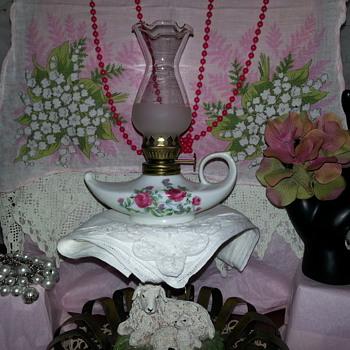 Vintage Porcelain Finger Lamp Kerosene Oil Crimp 1/2 Frosted Shade   - Lamps