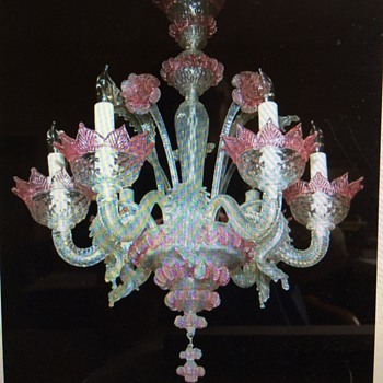 Vintage Venetian Glass Chandelier  - Lamps