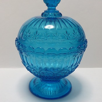 Footed Blue glass bowl / compote with lid - Glassware