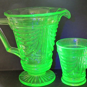 Sowerby Uranium Glass Water Jug and Glass 2550 - Glassware