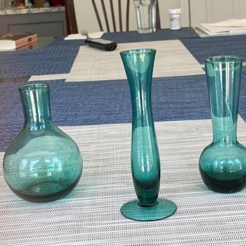 Blue bud vases - Art Glass
