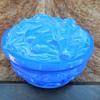 Vintage Czech Blue Malachite Art Glass Lidded Nude Women Trinket Box