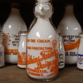 """WATKINS FARM DAIRY """"COP THE CREAM"""" MILK BOTTLE...WESTMINSTER VERMONT - Bottles"""