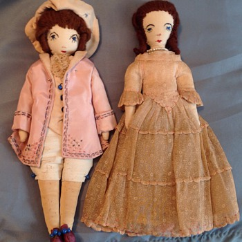 Cloth doll couple - Dolls