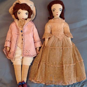 Cloth doll couple - Dolls
