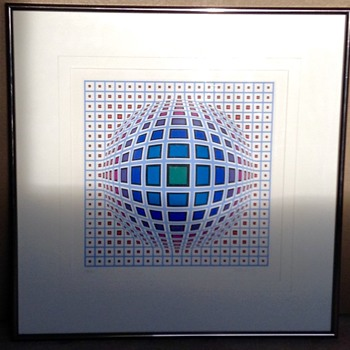 Victor Vasarely Vega in Blue Hand Signed Numbered Serigraph  - Mid-Century Modern