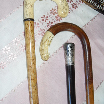 ANTIQUE IVORY/SILVER WALKING CANES - Accessories