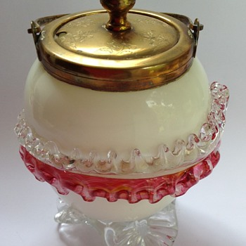 Victorian glass lidded jar with applied acanthus leaf - Art Glass