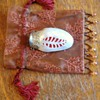 Cricket House!   JIMINY CRICKET!!!  Chinese Sea Shell carved,Silver Top 3 1/2 inch long