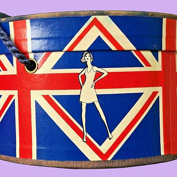 MOD 1960's London Carnaby Streets Union Jack Motif, Bonat Wig Box - Advertising