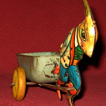 Vintage Marx Tin Rabbit Pulling Cart - Toys