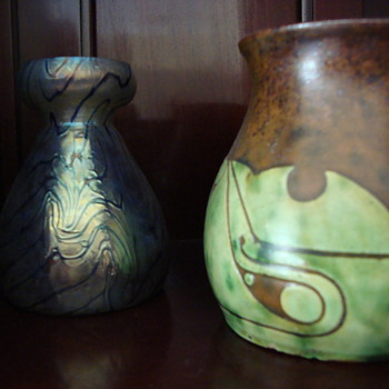 both around 1900 one glass and one out of clay made by willem coenraad brouwer in scraffito technique