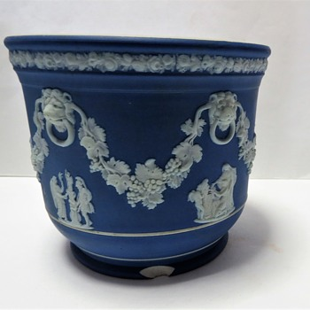 Antique Wedgwood Jasperware Cobalt Blue Planter - China and Dinnerware
