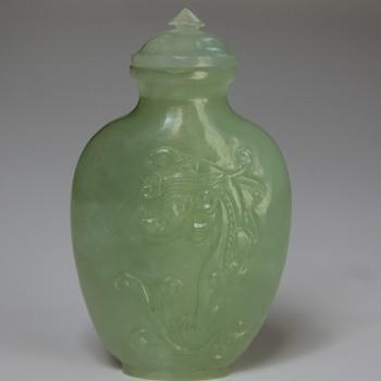 Celedon Jade Chi Dragons Snuff Bottle - Asian