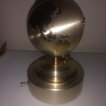 Windmill world globe revolving alarm clock, mechanical wind and mechanical musical movement, in brassy gold metal - Clocks
