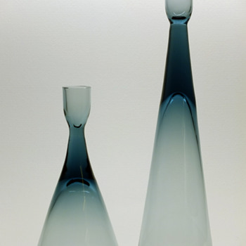 Bengt Edenfalk for Skruf - Two candleholders. - Art Glass