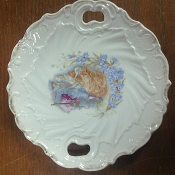 Handled porcelain plate, gilt edged, 1800s musician with lute - Pottery