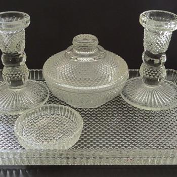 Clear Glass Dressing Table Set - Bagley - Koh-i-Noor Pattern - Glassware