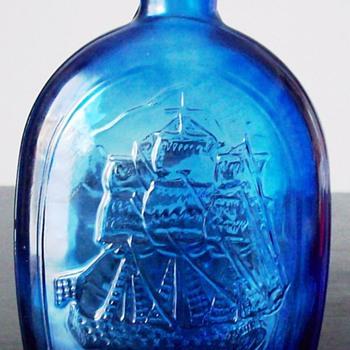 Cobalt Blue Franklin TWD #7 American Eagle Bottle Hand Blown Bird 8 3/4 Inch - Bottles