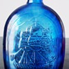 Cobalt Blue Franklin TWD #7 American Eagle Bottle Hand Blown Bird 8 3/4 Inch