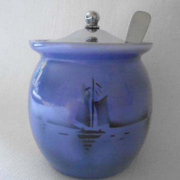 Czech Art Deco Tango Glass Jam Pot - Art Glass