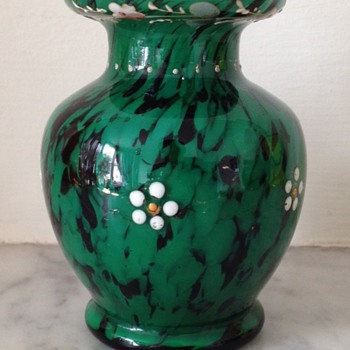 Franz Welz green and oxblood enamelled glass bud vase - Art Glass
