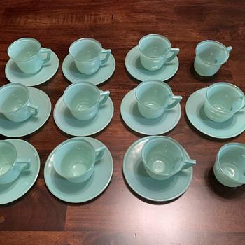 Jadeite cups and saucers - Glassware