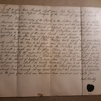 September 2, 1784 John Wesley letter (facsimile) - Paper