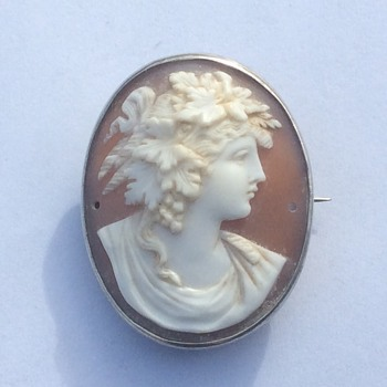 Greek Goddess Silver Cameo Brooch - Fine Jewelry