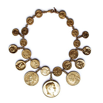 Vintage Trifari Coin Charms Necklace