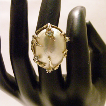 Vintage Panetta Large Pearl Ring - Costume Jewelry