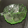 Vintage Uranium Pressed glass  leaf