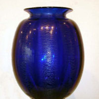 Tincraquelé in dark blue 1930-35 - Art Glass