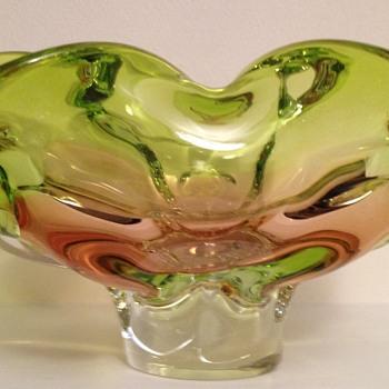 Chribska two tone flared bowl - Art Glass