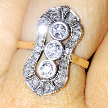 Antique Victorian Old Mine & Rose Cut Diamond Silver Gold Ring