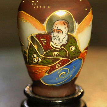 Satsuma-style Porcelain Vase with Monk and Temple - Pottery
