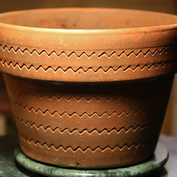 Midcentury Flower Pot with Interesting Zigzag Design - Pottery