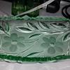 Vaseline uranium glass condiment dish