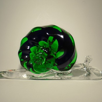 Svoboda AGS glassworks art glass snail sculpture -- Czech art glass -- visit to Karlov - Animals